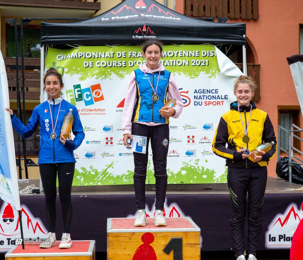 Les podiums du championnat de France de moyenne distance 2021 : Alice Merat championne de France en dames 16